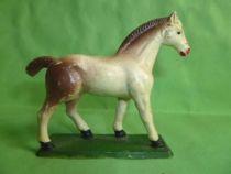 Starlux - La Ferme - Animaux - Cheval tête droite avec socle (blanc & marron) (série 53/54 réf 541)