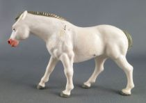 Starlux - La Ferme - Animaux - Cheval tête droite sans socle (blanc) (série 60 réf 2541)