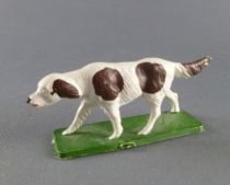 Starlux - La Ferme - Animaux - Chien de troupeau sur socle (blanc & marron) (série 65/66 réf 537)