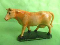 Starlux - La Ferme - Animaux - Vache tête à gauche avec socle (blanche & marron) (série 53/54 réf 54?)