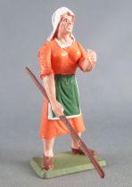 Starlux - la ferme - Fermière avec bâton orange (série 75 réf PF12)
