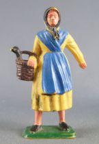 Starlux - la ferme - Fermière panier avec oie (jaune & bleu foncé) (série 65/66 réf 513bis)