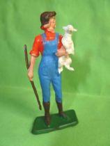 Starlux - La Ferme - Jeune Fille portant agnelet (rouge & bleu) (série 65/66 réf 515)