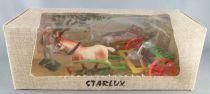 Starlux - La Ferme - Machine Agricole - Râteau Mécanique avec cheval & fermier buvant (réf 604) Neuf Boite