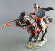 Starlux - Middle-age - 59 Series - ref  6101 bis - Mounted with Spear & cape on black galloping horse