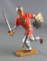 Starlux - Middle-age - 63 Series - ref 6046 (grey base) - Footed Charging sword & shield (orange & silver)