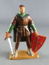 Starlux - Middle-age - 63 Series - ref 6052 (gold base) - - Footed Lord with sword & shield (green & brown)