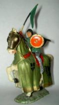 Starlux - Middle-age - serie 60 - ref 6113 - mounted with streamer & black cape on 1961 walking white horse with green jousting