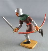 Starlux - Middle-age - serie 63 - ref 6048 (grey base) - footed charging with sword & bow