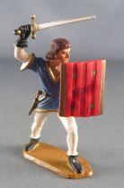 Starlux - Moyen-âge - série 58 - réf 6003 (socle blanc) - Piéton Seigneur Combattant bouclier a barre (blanc & bleu - bouclier r