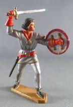 Starlux - Moyen-âge - Série 58 - réf 6004 (socle gris version 62) - Piéton Seigneur Combattant (gris métal & rouge)