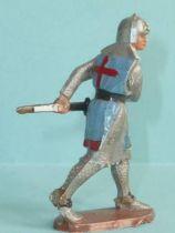 Starlux - Moyen-âge - série 58 - réf 6010 (socle blanc) - piéton croisé dégainant son épée (bleu)