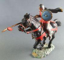 Starlux - Moyen-âge - Série 59 - réf 6101 bis - Cavalier Lance & Cape cheval noir au galop