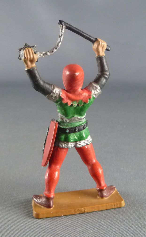 Starlux - Moyen-âge - série 60 - réf 6016 (socle blanc) - Piéton Homme d\'arme avec fléau (vert & rouge)