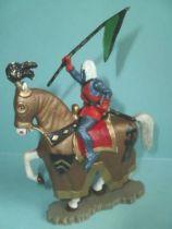 Starlux - Moyen-âge - série 60 - réf 6109 - cavalier avec oriflame cheval blanc harnois viel or
