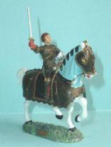Starlux - Moyen-âge - série 60 - réf 6201 - cavalier Jeanne d\'Arc (bronze) épée & casque cheval blanc caparaçon