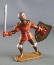Starlux - Moyen-âge - série 62 - réf 6033 (socle or) - Piéton Homme d\'arme épée