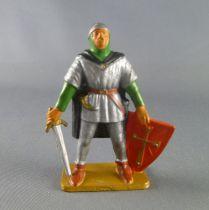 Starlux - Moyen-âge - série 63 - réf 6052 (socle gris) - piéton seigneur épée & bouclier (vert & argent)