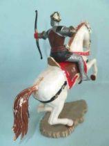Starlux - Moyen-âge - série 64 - réf 6115 - cavalier tireur arc cheval blanc cabré
