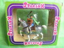 Starlux - Moyen-âge - série 66 - réf 6125 c - cavalier masse d\'arme cape & bouclier cheval blanc au pas caparaçon en boite