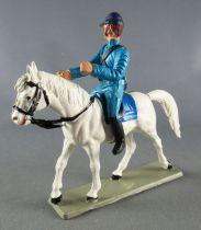 Starlux - Nordistes - Série ordinaire - Cavalier bleu ciel Cheval Blanc tête droite (réf CN1)