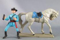 Starlux - Nordistes - Série ordinaire - Cavalier Officier jumelles cheval gris tête baissée (réf CN5)