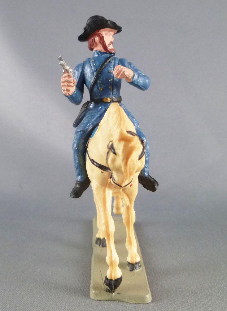 Starlux - Nordistes - Série ordinaire - Cavalier Officier revolver (bleu marine) cheval blanc tête baissé (réf CN2)