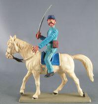 Starlux - Nordistes - Série ordinaire - Cavalier sabre devant  regardant à gauche cheval blanc tête levée (réf CN3)
