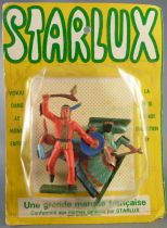 Starlux - Sioux - Série Ordinaire 57 - Blister 3 Piétons Hache & Bouclier Chef Assis Guetteur (réf 170 165 171)