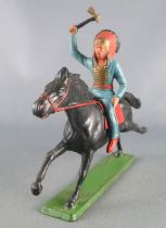 Starlux - Sioux Regular Series 1965 - Mounted Axz (blue) black galloping horse (ref 433)