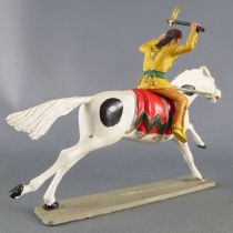 Starlux - Sioux Série Luxe 63 - Cavalier Tomahawk cheval pie galop (réf 4438)