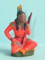 Starlux - Sioux Série Ordinaire 46 - Piéton Assis (orange) avec  fusil (réf SI12)