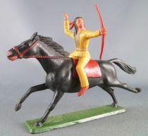 Starlux - Sioux Série Ordinaire 65 - Cavalier Arc à la main (jaune) cheval noir galop (réf 437)