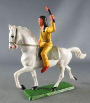 Starlux - Sioux Série Ordinaire 65 - Cavalier Flambeau (jaune) cheval blanc trot (réf 435)