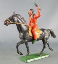 Starlux - Sioux Série Ordinaire 65 - Cavalier Flambeau (orange) cheval noir trot (réf 435)