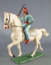 Starlux - Sioux Série Ordinaire 65 - Cavalier Fusil à la main (bleu) cheval blanc trot (réf 432)