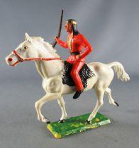 Starlux - Sioux Série Ordinaire 65 - Cavalier Fusil à la main (orange) cheval blanc trot (réf 432)