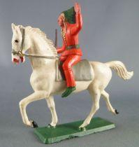 Starlux - Sioux Série Ordinaire 65 - Cavalier Fusil en l\'air (orange) cheval blanc trot (réf 436)