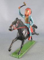Starlux - Sioux Série Ordinaire 65 - Cavalier Hache (bleu) cheval noir galop (réf 433)