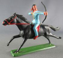 Starlux - Sioux Série Ordinaire 65 - Cavalier Tireur à l\'arc (bleu) cheval noir galop (réf 434)