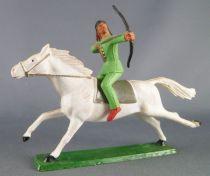 Starlux - Sioux Série Ordinaire 65 - Cavalier Tireur à l\'arc (vert) cheval blanc galop (réf 434)