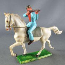 Starlux - Sioux Série Ordinaire 65 - Cavalier Tireur fusil (bleu) cheval blanc trot (réf 431)