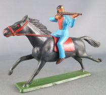 Starlux - Sioux Série Ordinaire 65 - Cavalier Tireur fusil (bleu) cheval noir galop (réf 431)