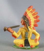 Starlux - Sioux Series Regular 57 - Footed Chief seated (yellow) (ref 165)