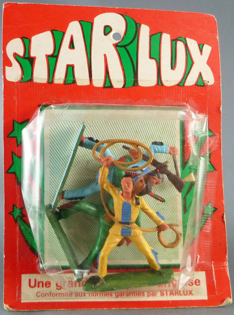 Starlux - Sioux Series Regular 57 - Mint on Card Set of 3 Footeds Lasso Axe Rifle Up (ref 168 167 172)