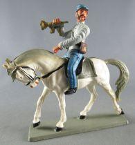 Starlux - Sudistes - Série Décor Spécial - Cavalier Trompette Cheval Blanc tête baissée (réf CSS6)