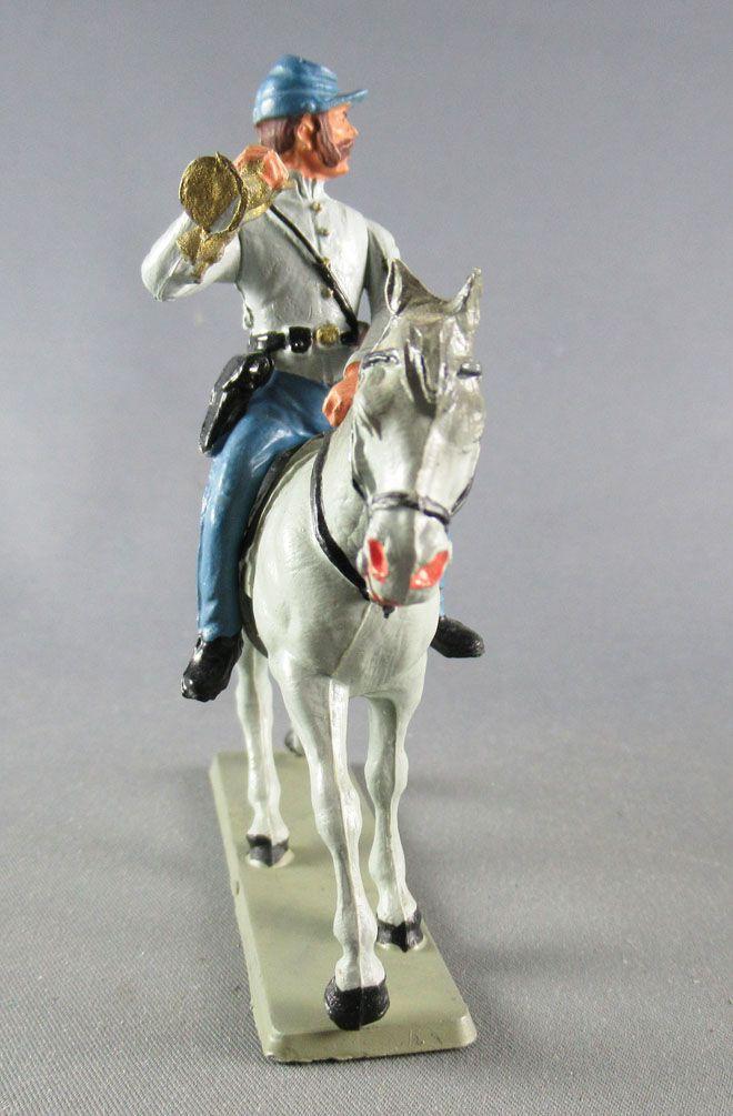 Starlux - Sudistes - Série Décor Spécial - Cavalier Trompette Cheval Gris tête droite (réf CSS6)