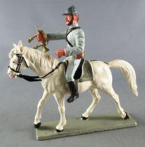 Starlux - Sudistes - Série ordinaire - Cavalier Clairon Regardant Devant Bras Tendu Cheval Blanc tête droite (réf CS9)