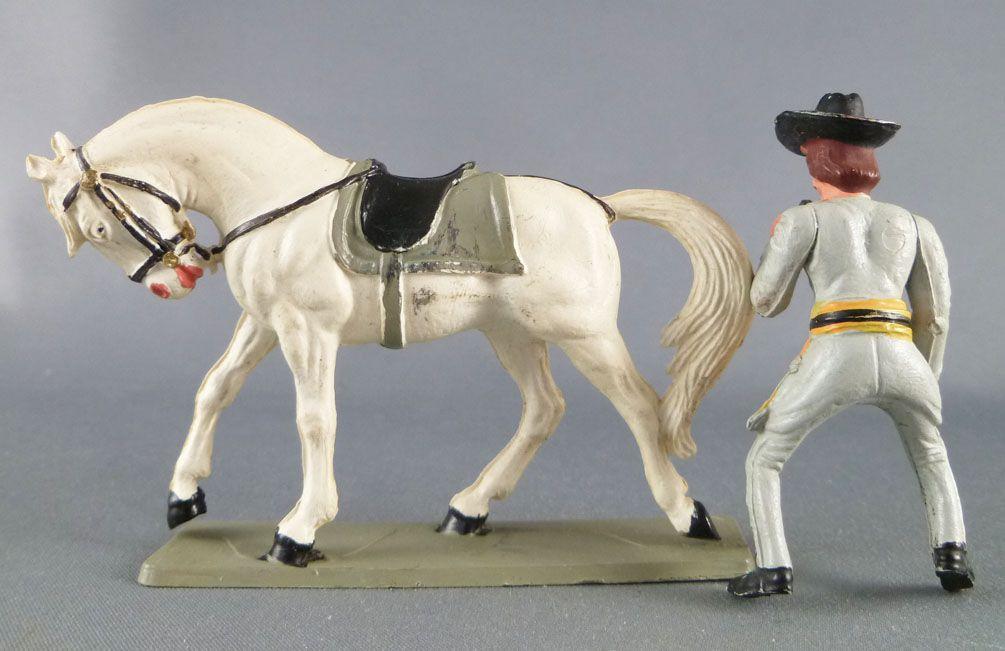 Starlux - Sudistes - Série ordinaire - Cavalier Officier longue vue cheval  blanc tête baissée (réf CS1)