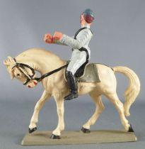 Starlux - Sudistes - Série ordinaire - Cavalier regardant à droite cheval blanc tête baissée (réf CSXX)